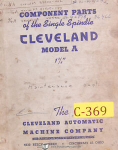 Cleveland Model A 1 3 8 Single Spindle Bar Automatic Parts Manual Year 1942