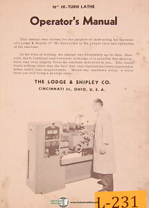 Lodge Shipley 10 Hi Turn Lathe Operations Template Prep Copymatic Manual