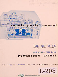 Lodge Shipley 1610 13 16 20 Hd 2013 17 Powerturn Lathe Parts List Manual