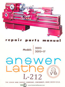 Lodge Shipley 2013 2013 17 Engine Lathe Repair Parts List Manual