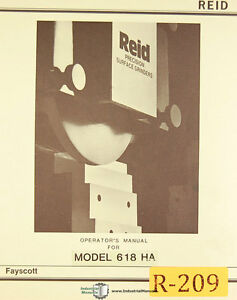 Reid 618ha Surface Grinder Operations And Maintenance Manual 1982
