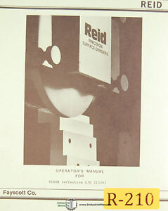 Reid 618hb Surface Grinder Operations And Maintenance Manual