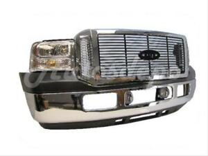 For 05 07 Ford Super Duty F250 F350 Front Bumper Chr Pad Grille Chr Blk Fog 8 Pc