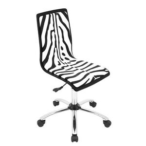 Lumisource Printed Height Adjustable Office Chair With Swivel Zebra