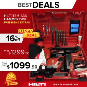 Hilti Te 6 a36 Preowned Free Tablet Set Of Bits Extras Fast Shipping
