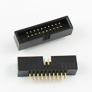 50pcs 1 27mm Pitch 2x10 Pin 20 Pin Dip Male Shrouded Box Header Idc Connector