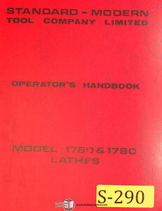 Standard Modern Tool Model 1760 1780 Lathes Operation Electric Parts Manual