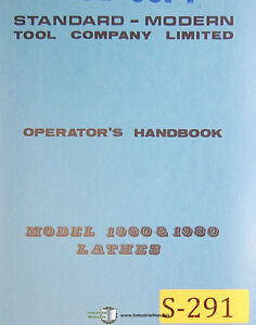 Standard Modern Tool 19 1960 1980 Lathes Operations Electric Parts Manual