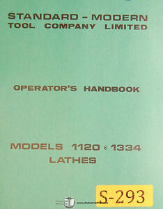 Standard Modern Tool 1120 And 1334 Lathes Operations And Parts Manual 1972