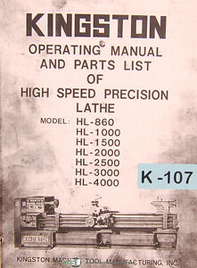 Kingston Hl Series Lathe Operations Parts And Wiring Manual