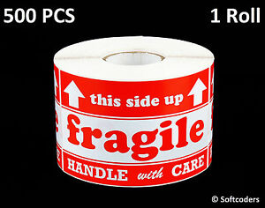 Labels Stickers Fragile Handle With Care 500 Per Roll Size 3x5