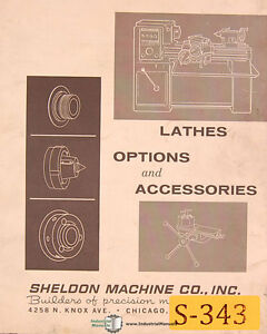 Sheldon Lathes Options And Accessories Manual Vintage 1967
