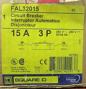 Square D Thermal Magnetic Circuit Breaker Fal32015 3 Pole 15 Amp 240 V