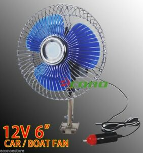 12 Volt 6 Auto Cooling Ocillating Air Fan For Truck Car Boat