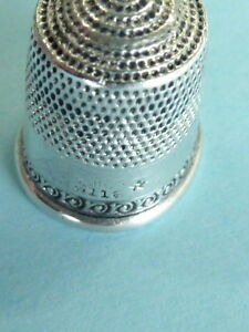 Vintage To Antique Sterling Sewing Thimble Stamped Sterling 11 W Star Hallmark