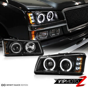 03 06 Chevy Silverado 1500 2500 3500 Black Housing Halo Led Projector Headlight