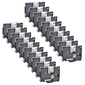 20 Pack Black On White Label Tape 12mm For Brother Tz 231 Tze 231 P touch 26 2ft