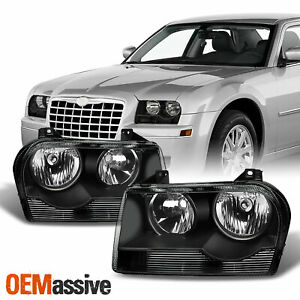 Fit 05 10 Chrysler 300 Black Replacement Halogen Type Headlights Lh Rh