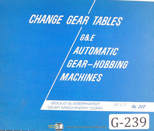 Gould Eberhardt Change Gear Tables Auto Gear Hobbing Manual