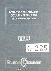 Gould Eberhardt 36 Hs Spur Gear Hobbing Operation Lube Parts M Manual 1951