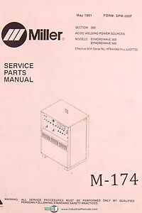 Miller Syncrowave 300 500 Ac dc Welding Power Sources Service Parts Manual