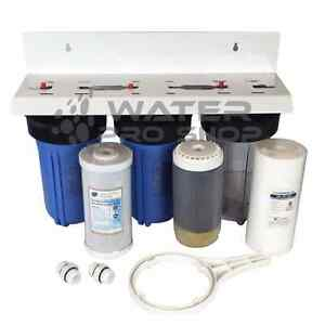 Kdf 55 Triple Whole House Big Blue Space Saver Water Filter System 10 1 Npt