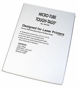 Tough tags For Laser Printer White 1 28 X 0 5 Fit 1 5ml Tubes 2 520 Tags