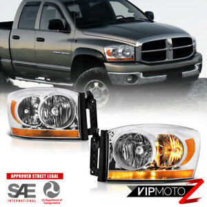 2006 Dodge Ram 1500 Amber Bar Model Chrome Headlights Lamps 2006 Ram 2500 3500