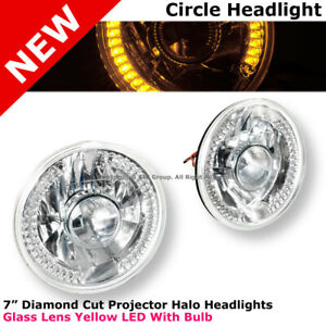 Universal 7 In Front Bumper Diamond Cut Projector Headlight Lamp 34 Led Yellow