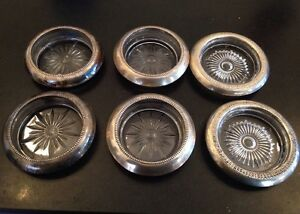 6 Mc Sterling Silver Cut Glass 4 Frank M Whiting Bottle Coasters Ashtrays