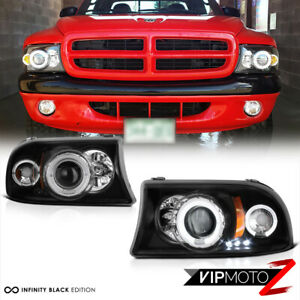 For Dodge 97 04 Dakota 98 03 Durango Black Halo Led Drl Projector Headlight Lamp