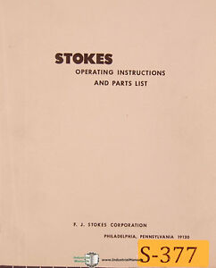 Stokes R 4 Tablet Machine Installation Operations And Parts Manual 1942