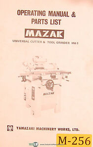 Mazak Mh 1 Universal Cutter Tool Grinder Operations Parts Manual