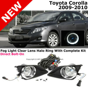 For Toyota Corolla 09 10 Clear White Halo Fog Lights Kit With Chrome Trim Cover
