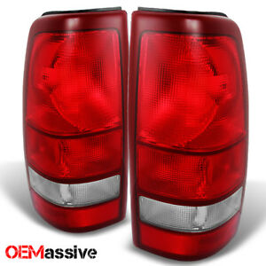 Fit 99 02 Silverado 99 03 Sierra Red Clear Tail Lights Brake Lamps Replacement