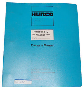 Hurco Autobend Iv Two Axis Promecam Operations Maintenance And Parts Manual