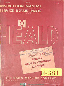 Heald No 261 Rotary Surface Grinder Instructions Service And Parts Manual