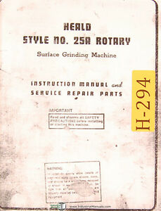 Heald Style 25a Rotary Surface Grinding Machine Service Repair Parts Manual