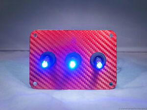 3 Hole Red Carbon Fiber 3d Wrap W Led Toggle Switches Blue