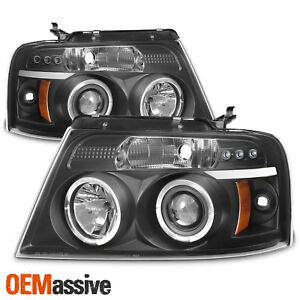 2004 2008 Ford F150 F 150 Black Halo Projector Led Headlights 04 05 06 07 08