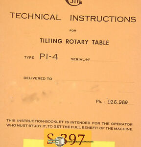 Sip Pi 4 And Pi 5 Tilting Rotary Table Technical Instructions Manual