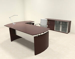 3pc Modern Contemporary L Shaped Executive Office Desk Set ro nap l6