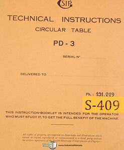Sip Pd 3 Circular Table Technical Instructions Manual Year 1955