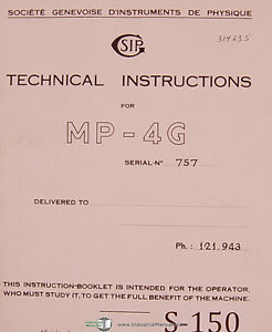 Sip Mp 4g Boring Machine Technical Operators Instructions 91 Page Manual