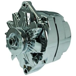New Alternator Chrome Plated Self Exciting 10si Delco 65 Amp One Wire Design