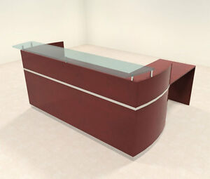 3pc Modern Glass L Shaped Counter Reception Desk Set ro nap r8