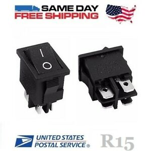 2 X Dpst Double Pole Single Throw 4 pin on off 10amp Rocker Switches