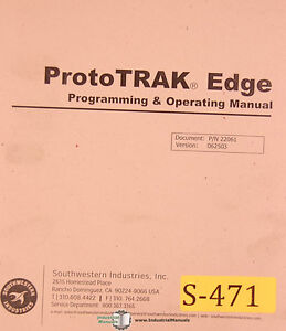Southwestern Proto Trak Edge Programming Operations Manual 2004