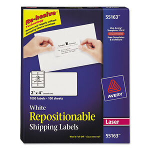 Avery Repositionable Shipping Labels Laser 2 X 4 White 1000 box