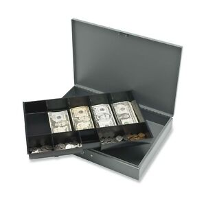 Sparco Cash Box With Tray 5 Bill 5 Coin Steel Gray 2 Height X 10
